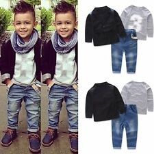 SALE 5T-6T Toddler Boys Coat+Shirt+Denim Pants Clothes Outfits Set 3pc Gentleman
