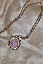 """16"""" Chain & Pendant Simulated Pink Fire Opal Rhinestone Vintage Look Necklace"""
