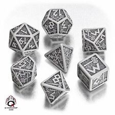 Q-Workshop Dwarven RPG Dice Set (7 Polyhedral) Gray & Black SDWA12