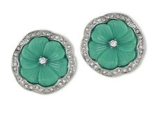 Kenneth Jay Lane Rhodium Rhinestone Jade Resin Pansy Flower Clip Earrings