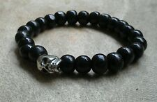 Mens/Womens Black Chunky Wooden Beaded Surfer Skull Bracelet Silver Rock, Goth