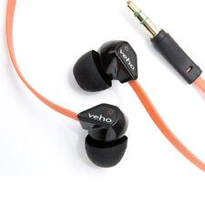 NEW VEHO 360Z1 NOISE ISOLATING EARPHONES STEREO HEADPHONES FLAT FLEX CORD ORANGE