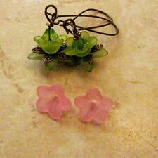 FORTY Small Frosted PINK  Trumpet, Lily Flower Cap Bead 13mm