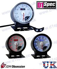 D1 SPEC UNIVERSAL RACING RPM TACHOMETER GAUGE 60mm WHITE Dial JDM RALLY DRIFT