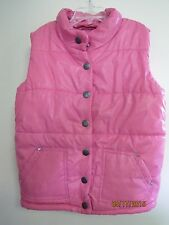 EUC THE CHILDREN'S PLACE GIRLS PINK PUFFY VEST SNAP FRONT RHINESTONES SIZE M 7/8