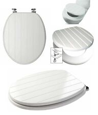 Universal Wooden Tongue And Groove Toilet Seat With Strong Chrome Plated Hinges