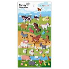 CUTE FARM ANIMAL STICKERS Raised Puffy Vinyl Sticker Sheet Cow Horse Pig Craft