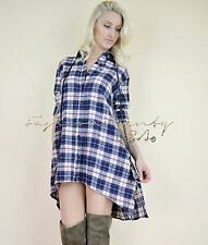 Chic HONEY PUNCH Country COWGIRL Boho Trapeze PLaid Flannel Tunic Shirt Dress L
