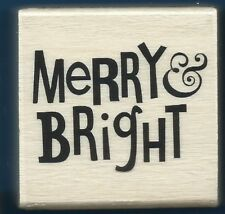 MERRY & BRIGHT Holiday Card Words NEW Craft Smart 2014 Wood Hobby RUBBER STAMP