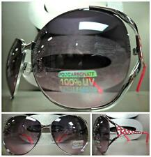 OVERSIZE VINTAGE RETRO Style SUN GLASSES Silver Metal Frame Pink & White Accents