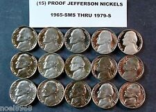 """15 CONSECUTIVE DATES 1965-SMS TO 1979-S  """"NEW PRICE""""  PROOF JEFFERSON NICKELS"""