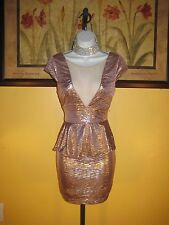 NWT  Arden B. Metallic Rose Gold Illusion Peplum Dress Size XS