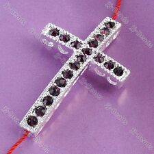 1pc Purple Crystal Studded Cross Connector Curved Bead For Jewelry Bracelet DIY