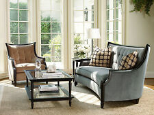 RILEY-Contemporary Wood Trim Fabric Sofa Couch & Chair Set Living Room Furniture