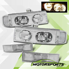 1995-2005 Chevy Astro Van/GMC Safari Van Chrome Headlights+Bumper Signal Lamps