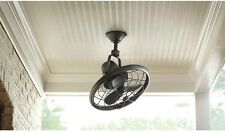 Oscillating Ceiling Fan w/ Wall Control Distressed Bronze Indoor Outdoor Rustic