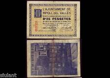 BILLETE LOCAL - RIPOLL. 25 CTS. AÑO 1937 - SIN SERIE -  BC