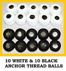 20 Anchor Pearl Cotton Black & White Embroidery Sewing crochet thread balls