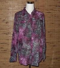 """Ariat Western Shirt Top XL Animal Print Pink Pearl Snap Front 46"""" Chest EUC"""