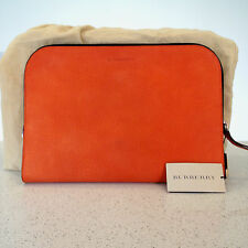 £595 Burberry Orange Grainy Nubuck Leather Document Holder Bag Authentic