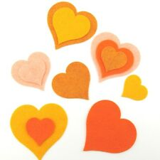 12 Heart Wool Blend Felt Die Cut Appliques -Oranges