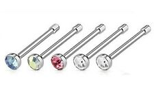 Set of 5 - Crystal Nose Studs - Surgical Steel - 2mm Crystal - 0.8mm Thick Bar