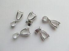 4pz Ganci per pendenti in ottone colore argento scuro 20x7mm
