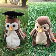 TY Beanie Babies Pair Set Duo Lot Owl WISE Class Of 1998 HOOT Retired Mint Tags