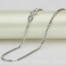 New Solid Au750 18K White Gold Women's Men's Box Chain Link Necklace 19.6inch