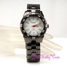 OMAX Sporty 5atm 5Bar Waterproof Seiko Movt Hematite Black Steel Watch DBA637