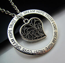 Free Tibetan Silver LOVE DREAM HOPE TRUST Lucky Heart Pendants Charm Necklaces
