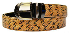 New Men's Natural Taupe / Black Genuine Snake Skin Belt