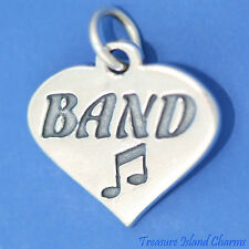 """BAND"" HEART WITH MUSIC NOTES .925 Solid Sterling Silver Charm"