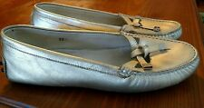 Tods Women's Metallic Gold Leather Driving Loafers Size 8.5 US (Euro 39)