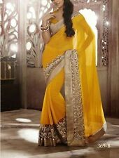 Bollywood Designer Party Wear Yellow Color Gota Work  Saree