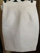 Raoul Ivory New Geometric Pencil Skirt Ivory Polyester Size 6  D173