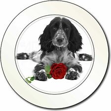 Cocker Spaniel (B+W) with Red Rose Car/Van Permit Holder/Tax Disc Gi, AD-SC13R2T