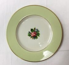 "FINE ARTS ""ROMANCE ROSE"" GREEN SALAD PLATE 8 3/8"" IVORY CHINA MADE IN U.S.A."