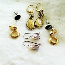 Vtg Lot of 4 Pair Pierced Earrings Gold Etched Sterling CZ Pearl Black Stud