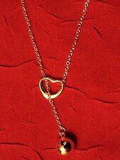 Heart Ball & Chain Lariat Necklace silver 925