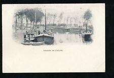 Belgium Souvenir de l'Ecluse Canal Boats c1900s vignette u/b PPC