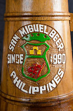 One (1) Large Wooden San Miguel Beer Philippines Carved Wooden Stein/Mug