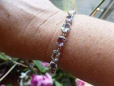 Magnifique bracelet souple avec améthystes mauves et vertes argent 925  poinçon