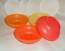 New TUPPERWARE Servalier Salad Bowls Seals 16 oz Summer Colors Orange Red Yellow