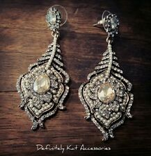 Stunning crystal, pearl vintage peacock feather cocktail drop statement earrings