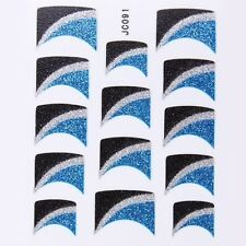 Nail Art Decal Stickers Glitter Nail Tips Blue Black Silver Wedges Lines JC091