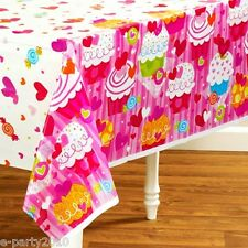 VALENTINE'S DAY Cupcake Hearts PLASTIC TABLECOVER ~Birthday Party Supplies Cloth