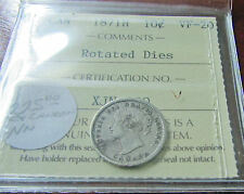 Canada 1871H 1871 H 10 Cents ICCS VF 20  Silver Error  Rotated Dies