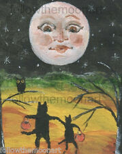 Moonface Trick or Treat  Owl Night Halloween Wall Art Print