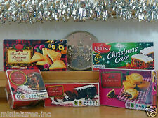 DOLLS HOUSE MINIATURE CHRISTMAS FOOD PACKETS Mince Pies Xmas Cakes & Pudding etc